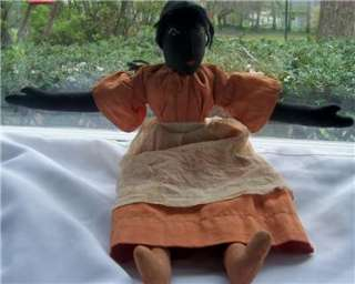 Charming Vintage or Antique Black Cloth Folk Art Doll