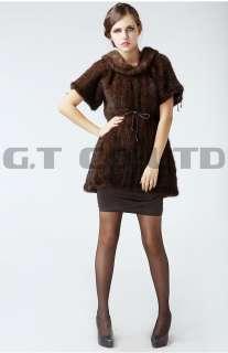 0200 Winter mink fur knit Vest waistcoat sleeveless vests shawl wrap
