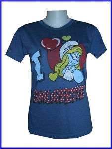Girl Funny T SHIRT Smurfs Smurfette IN LOVE FreeSz DB vintage print