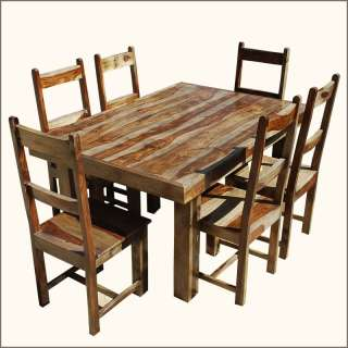 Solid Wood 7pc Dining Room Table 6 Piece Chair Furniture Set