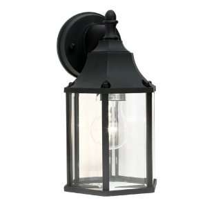 New Outdoor Wall Lantern Lighting Fixture, Sand Black, Clear Glass