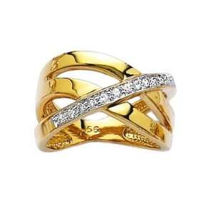 Ladies 18K Gold Plated Clear Cubic Zirconia Open 3 Row Luxury Band