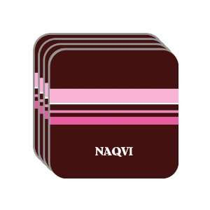 Personal Name Gift   NAQVI Set of 4 Mini Mousepad Coasters (pink