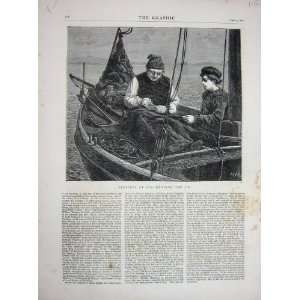 1871 Mending Jib Boat Sea Old Man Young Boy Fine Art Home & Kitchen