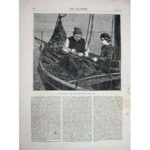 1871 Mending Jib Boat Sea Old Man Young Boy Fine Art Home & Kitchen