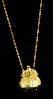 VINTAGE GOLD TONE LADIES PURSE LOCKET NECKLACE PENDANT
