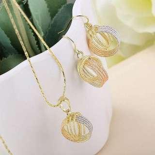 Noble Generous Sets 18K Color Gold Filled Womens Pendant+earrings