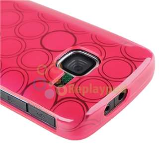 NEW TPU Rubber Case Smoke Pink+LCD Cover for Nokia C3