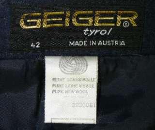 GEIGER ~ BOILED WOOL / BLUE Austria DESIGNER Women PLEATED Swing Dress