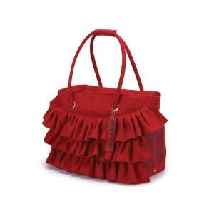 Zack & Zoey Red Faux Suede Fashion Ruffle Dog Cat Pet