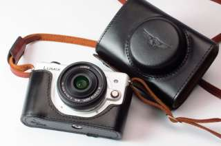 Real Leather Camera case bag for Panasonic GF2 + Strap