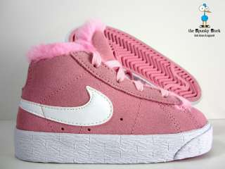 NIKE BLAZER BOOT w/ FUR TODDLER GIRLS PINK WHITE SZ 10C