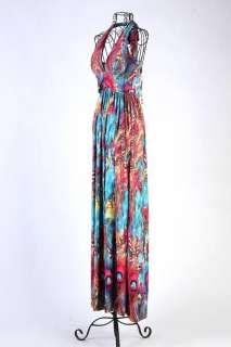 Women Bohemian Skirt Halter Maxi Full Long Dress V neck Vintage dress