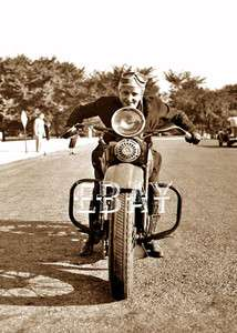 EARLY VINAGE CLASSIC GIRL WOMAN ON MOORCYCLE WOMEN LADY HARLEY