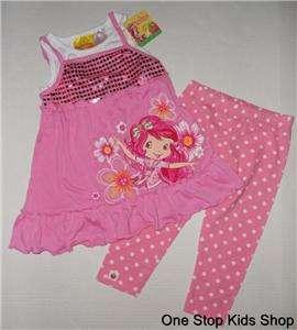 STRAWBERRY SHORTCAKE Girls 4 5 6 Set OUTFIT Shirt Top Pants Leggings