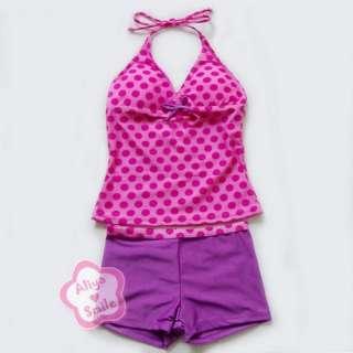 Girls 2PC Tankini Swimsuit Halter Swimwear Swim Costume SZ 8 16 Years