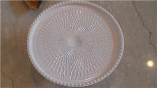 JEANNETTE PINK MILK GLASS PEDESTAL CAKE STAND/PLATE~MINT ~ HARP