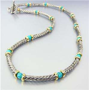 Designer Style Silver Cable Gold Rings Turquoise Stone Beads Necklace