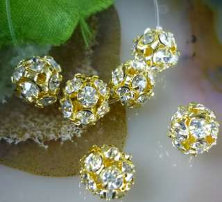20x A+ Rhinestone gold crystal ball Spacer beads 8mm