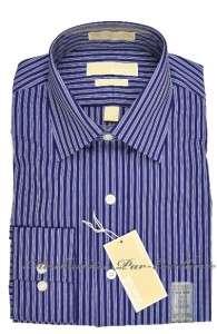 KORS No Iron Cotton Dress SHIRT Navy BLUE stripe + many sizes +