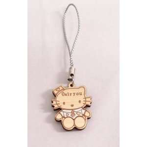 Hello Kitty Gold & Silver Wood Cell Phone Charm