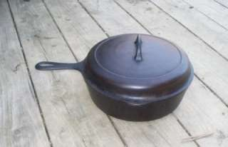 Griswold Erie No 8 777 Deep Chicken Pan Cast Iron Skillet w High Dome