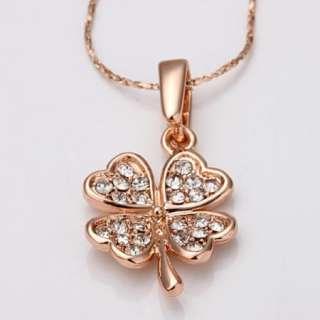 N54 18K rose Gold plated white gem Swarovski crystal 4 leaf Necklace