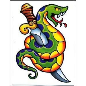 Green & Blue Snake w/ Sword Temporaray Tattoo Toys