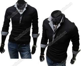 Muscle Men Casual Slim Fit Long sleeve T Shirts Polo shirts