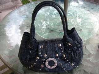 Charm&Luck Studded HAND BAG PURSE Croc Embossed