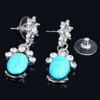 oval handcrafted fashion woman rose turquoise Tibet silver earrings