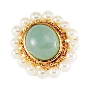 Cultured White Pearl Natural Green Jade 14k Gold Ring Jewelry