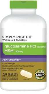 Simply Right Glucosamine HCL 1500mg MSM 1500mg 250 Tablets