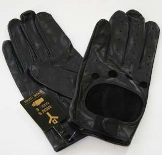 NWT Black Motorcycle Leather Mens Biker Riding Driving Gloves Size