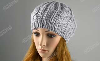 Women Beret Braided Baggy Beanie Crochet Hat Ski Cap 4 Colors