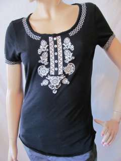 New LUCKY BRAND Women Black S/S Henley Hubbell Embroidered Top Knit