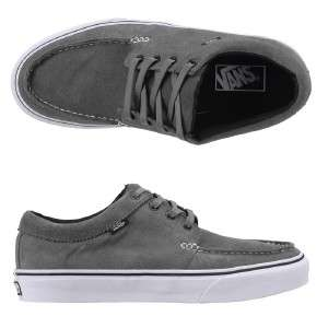 Vans Mens 106 Moc Leather Moccasin Shoe Suede Pewter