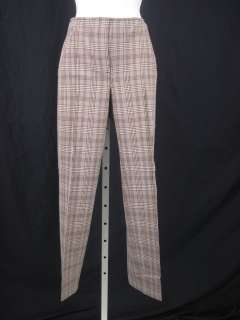 TECH Brown Cream Plaid High Rise Dress Pants Slacks 6