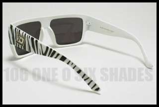 FLAT TOP Unique ZEBRA Retro Mob Squared Sunglasses Mens Oversized