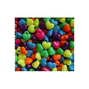 Neon MultiColors 20mm Large Heart Pony Beads 50pc: Home