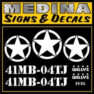 Army Jeep Wrangler Military Decal Set / Stickers TJ CJ YJ JK (All