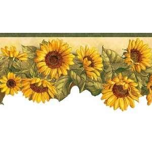 Green Sunflower Waltz Wallpaper Border
