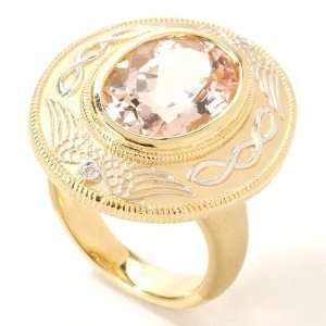 18K Gold Morganite & Diamond Ring Jewelry