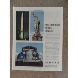 1939 Packard ,Vintage 30s full page print ad (the statue of liberty