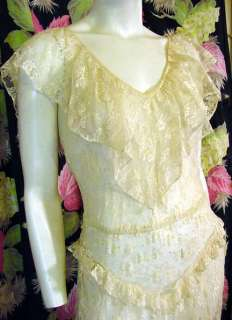 70s ivory lace 30s style Party dress 34 bust
