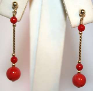 14K gold natural Mediterranean Sea Red Coral earrings