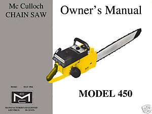 McCulloch Model 450 Chain Saw Owners Manual