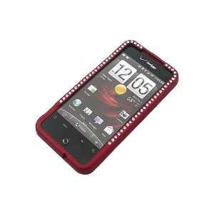 HTC Droid Incredible Rubber Diamond Case Red Cell Phones