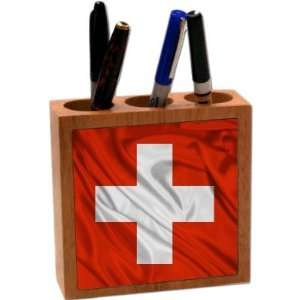 Rikki KnightTM Switzerland Flag 5 Inch Tile Maple Finished