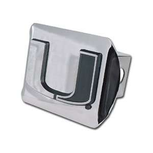 Miami Hurricanes Chrome Plated Metal Trailer Hitch Cover Automotive